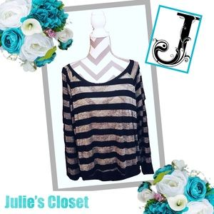 JULIE'S CLOSET Black & Metallic Striped Crop Top